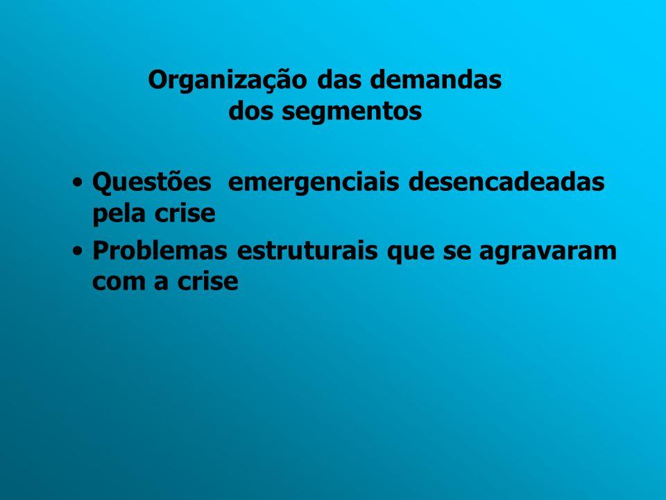 Organização das demandas dos segmentos