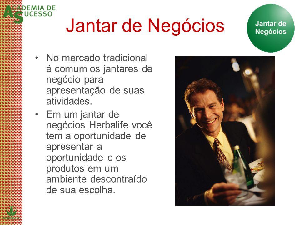 Jantar de Negócios No mercado tradicional é comum os jantares de negócio para apresentação de suas atividades.