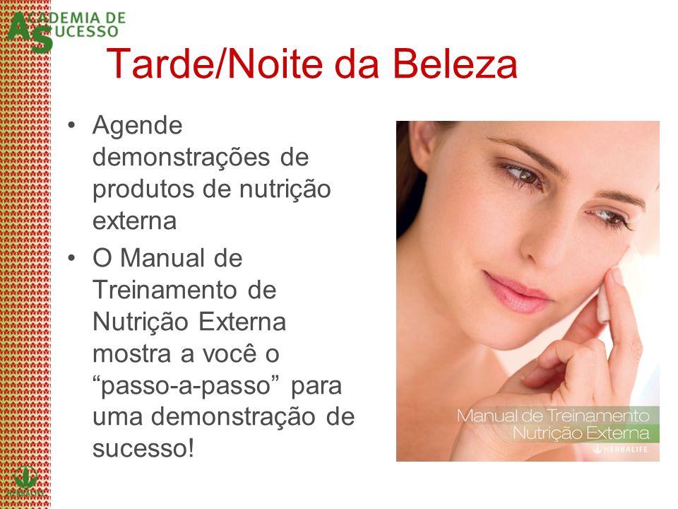 Tarde/Noite da Beleza Agende demonstrações de produtos de nutrição externa.