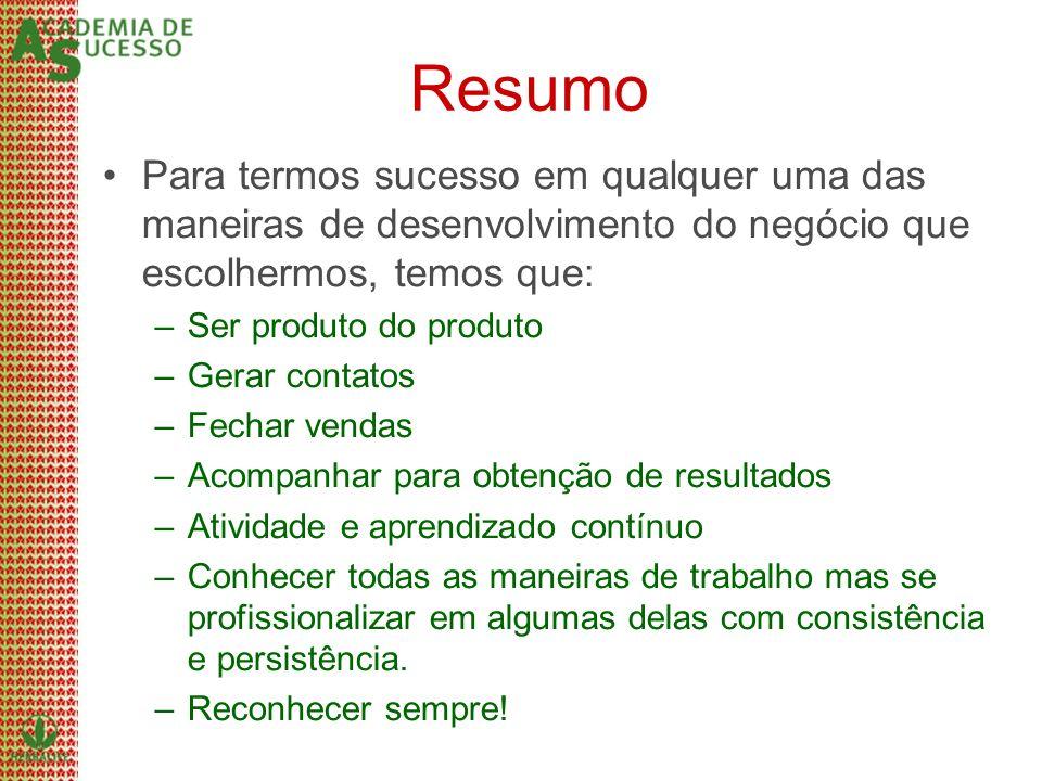ResumoPara termos sucesso em qualquer uma das maneiras de desenvolvimento do negócio que escolhermos, temos que: