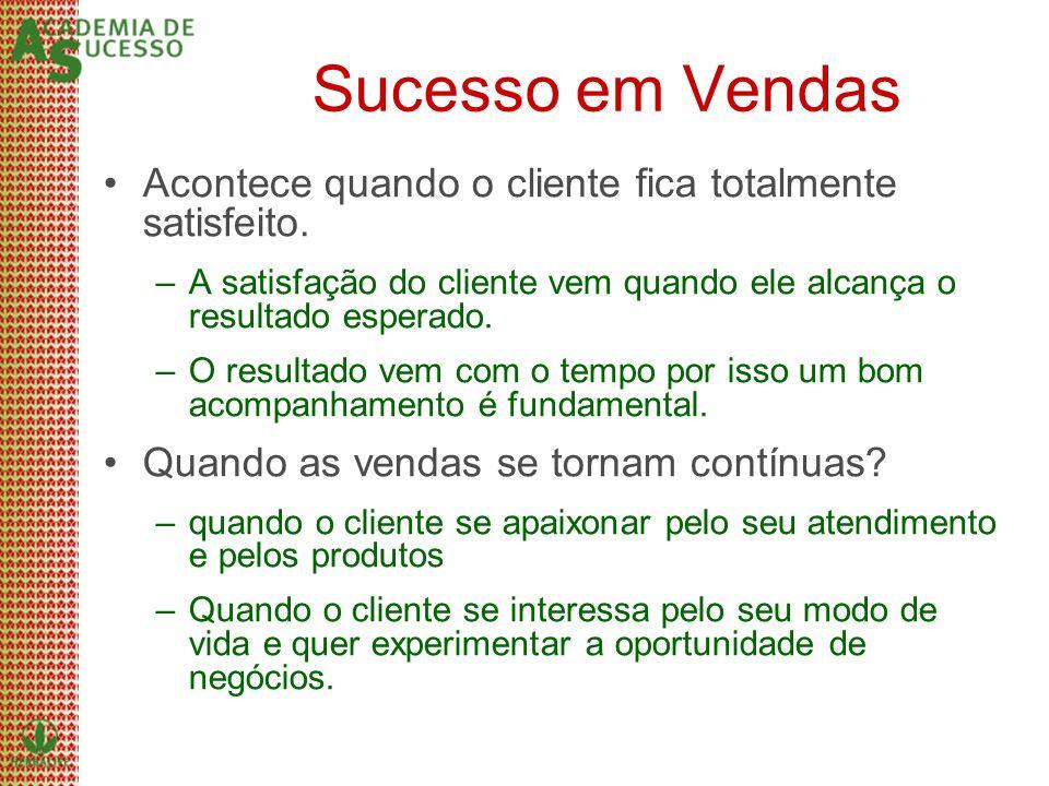 Sucesso em VendasAcontece quando o cliente fica totalmente satisfeito. A satisfação do cliente vem quando ele alcança o resultado esperado.
