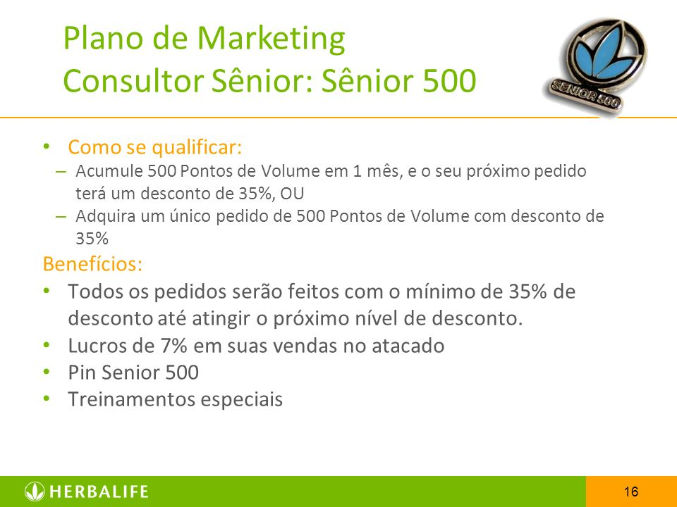 Plano de Marketing Consultor Sênior: Sênior 500