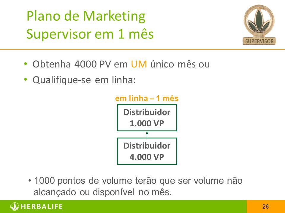 Plano de Marketing Supervisor em 1 mês