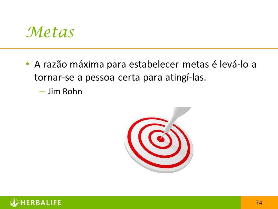 Metas A razão máxima para estabelecer metas é levá-lo a tornar-se a pessoa certa para atingí-las.