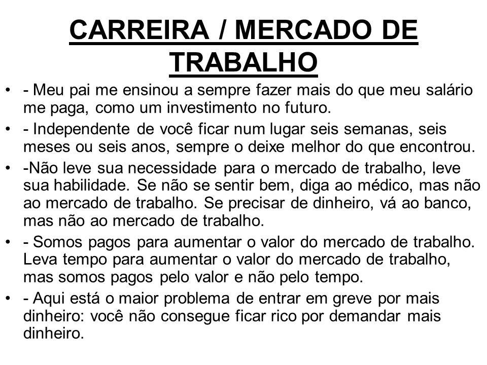 CARREIRA / MERCADO DE TRABALHO