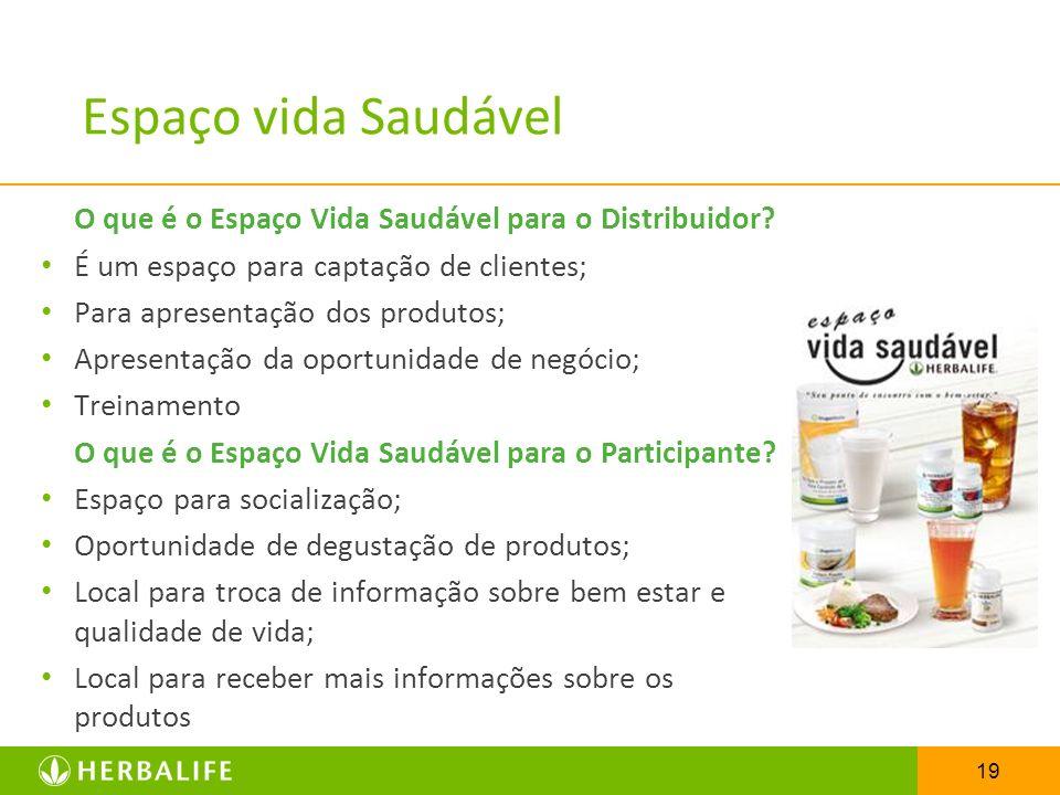 Espaço vida Saudável O que é o Espaço Vida Saudável para o Distribuidor É um espaço para captação de clientes;