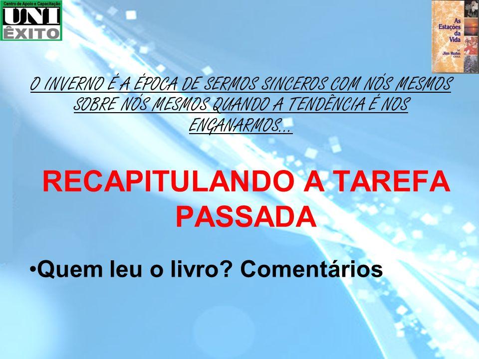 RECAPITULANDO A TAREFA PASSADA