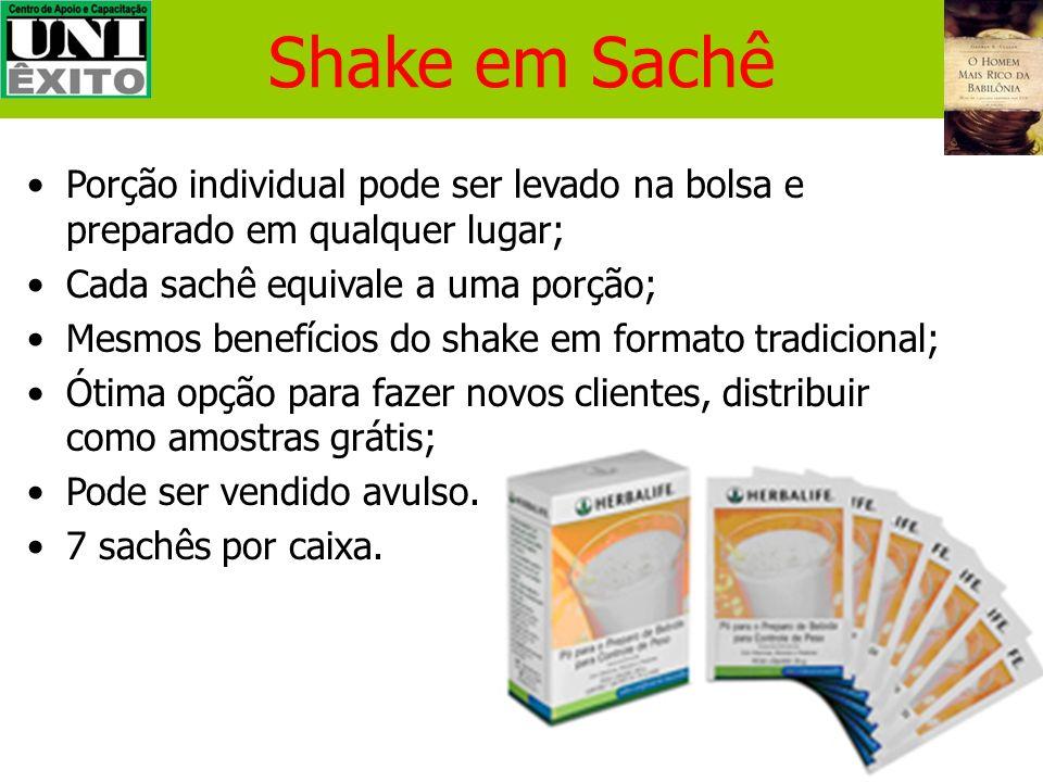 Shake em SachêPorção individual pode ser levado na bolsa e preparado em qualquer lugar; Cada sachê equivale a uma porção;