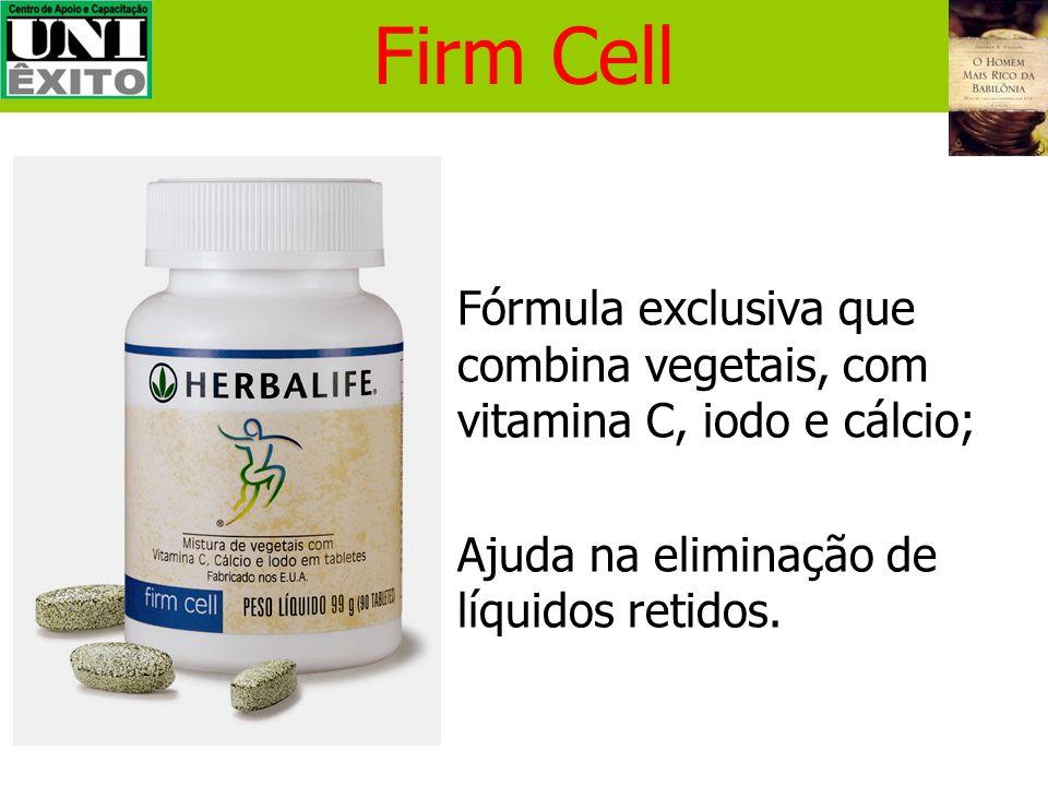 Firm Cell Fórmula exclusiva que combina vegetais, com vitamina C, iodo e cálcio; Ajuda na eliminação de líquidos retidos.