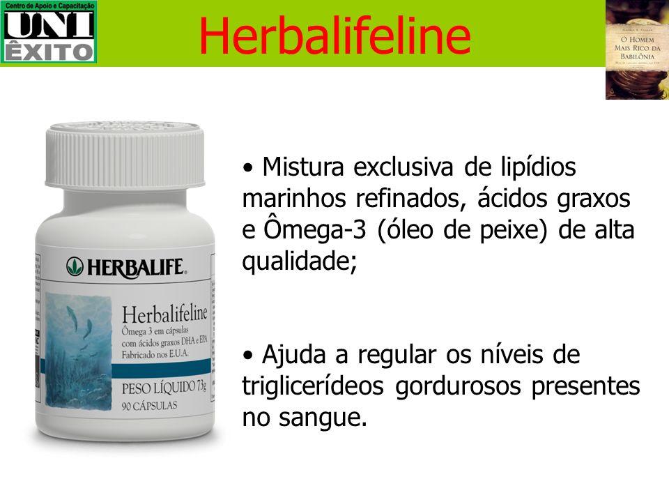 HerbalifelineMistura exclusiva de lipídios marinhos refinados, ácidos graxos e Ômega-3 (óleo de peixe) de alta qualidade;