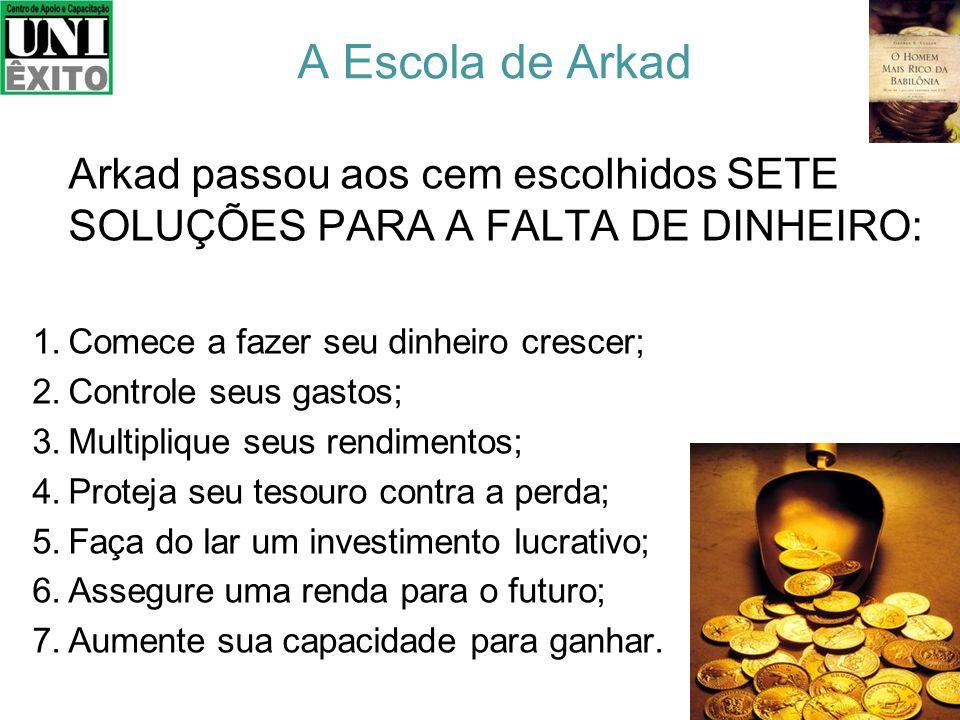 A Escola de Arkad Arkad passou aos cem escolhidos SETE SOLUÇÕES PARA A FALTA DE DINHEIRO: Comece a fazer seu dinheiro crescer;