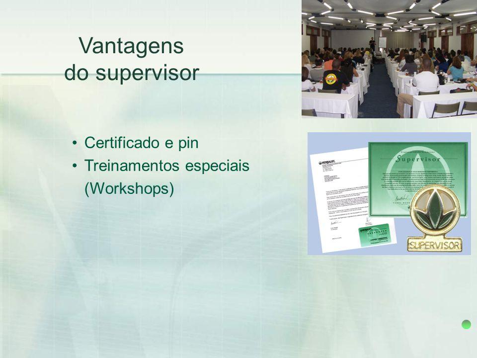 Vantagens do supervisor Certificado e pin Treinamentos especiais