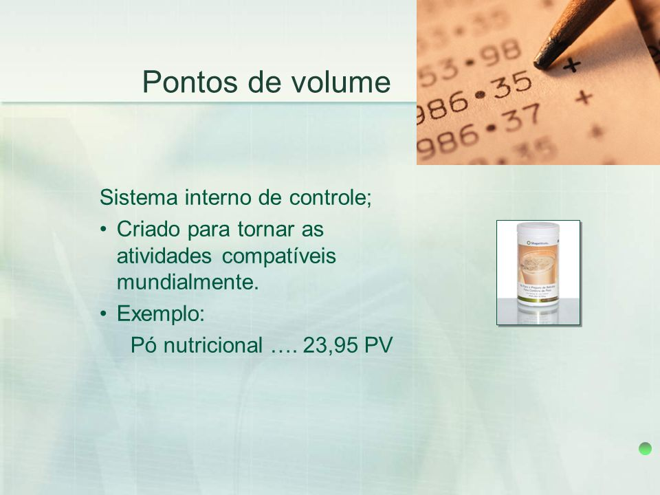 Pontos de volume Sistema interno de controle;