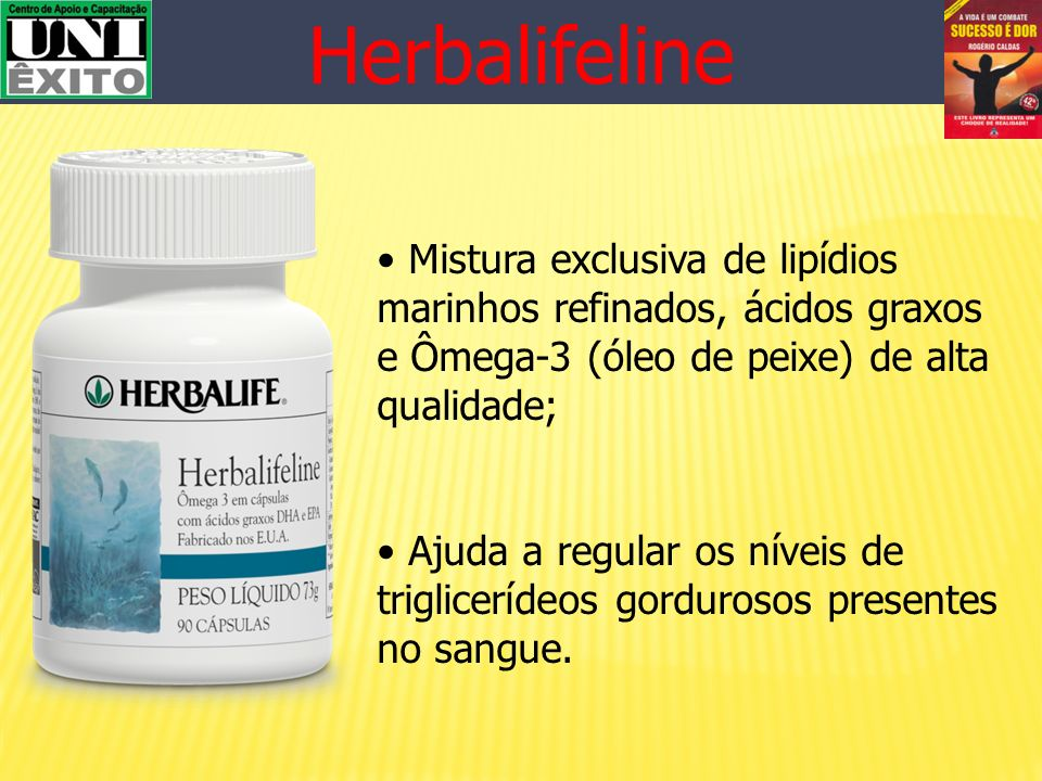 Herbalifeline Mistura exclusiva de lipídios marinhos refinados, ácidos graxos e Ômega-3 (óleo de peixe) de alta qualidade;