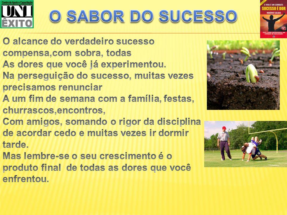 O SABOR DO SUCESSO O alcance do verdadeiro sucesso compensa,com sobra, todas. As dores que você já experimentou.