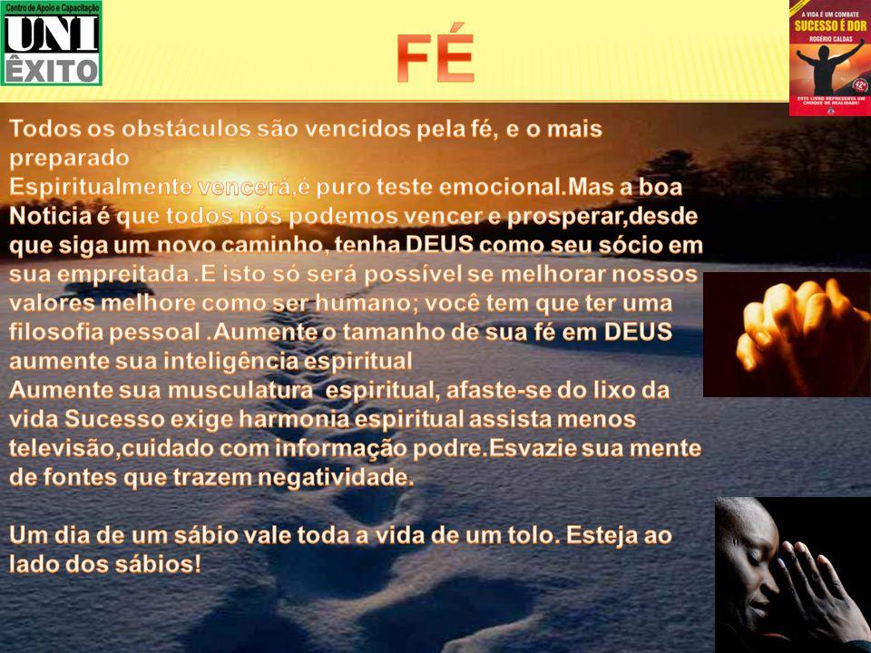 FÉ Todos os obstáculos são vencidos pela fé, e o mais preparado