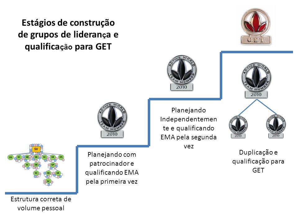 Estágios de construção de grupos de liderança e qualificação para GET