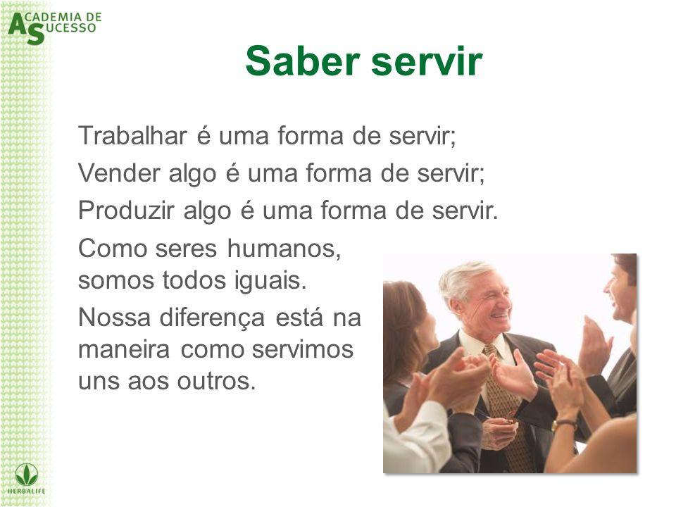 Saber servir Trabalhar é uma forma de servir;