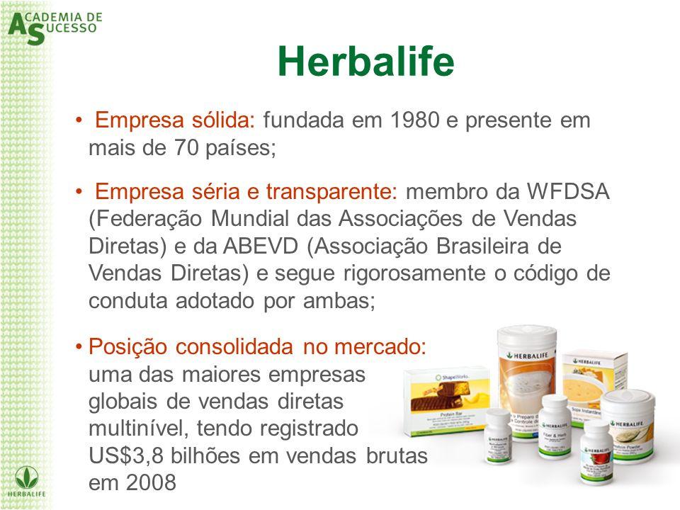 Herbalife Empresa sólida: fundada em 1980 e presente em mais de 70 países;