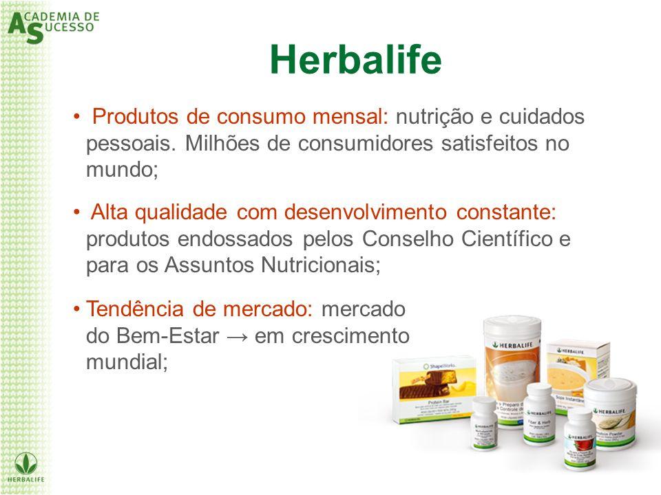 Herbalife Produtos de consumo mensal: nutrição e cuidados pessoais. Milhões de consumidores satisfeitos no mundo;