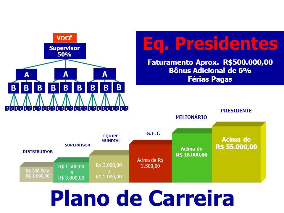 Plano de Carreira Eq. Presidentes B Faturamento Aprox. R$500.000,00