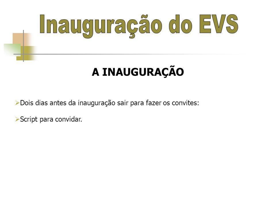 Inauguração do EVS A INAUGURAÇÃO