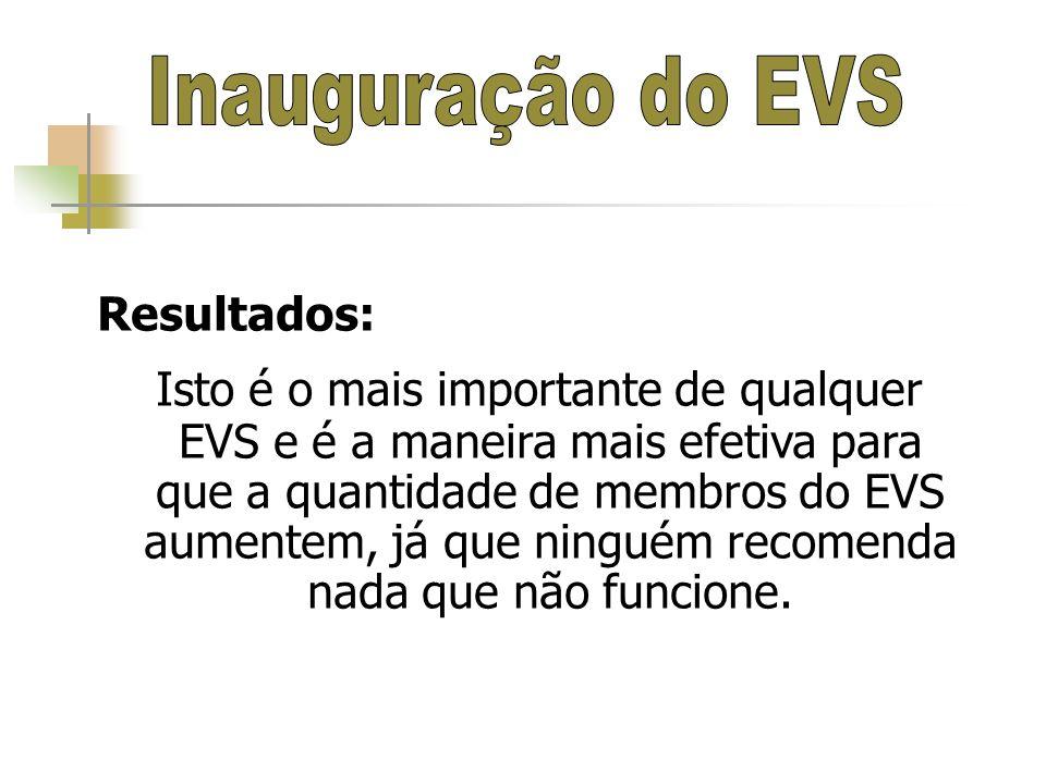 Inauguração do EVS Resultados: