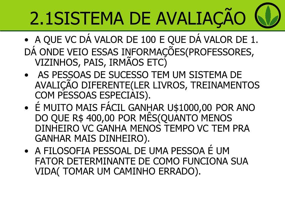 2.1SISTEMA DE AVALIAÇÃO A QUE VC DÁ VALOR DE 100 E QUE DÁ VALOR DE 1.