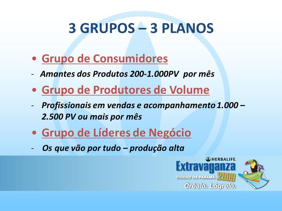 3 GRUPOS – 3 PLANOS Grupo de Consumidores