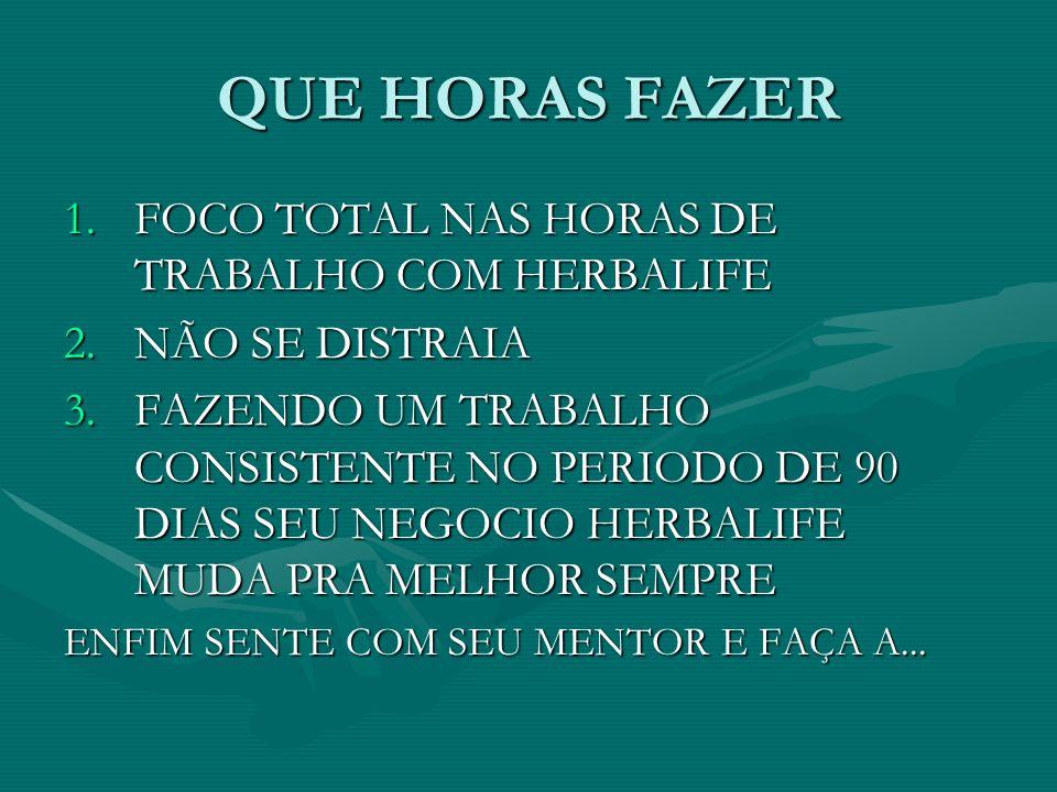 QUE HORAS FAZER FOCO TOTAL NAS HORAS DE TRABALHO COM HERBALIFE