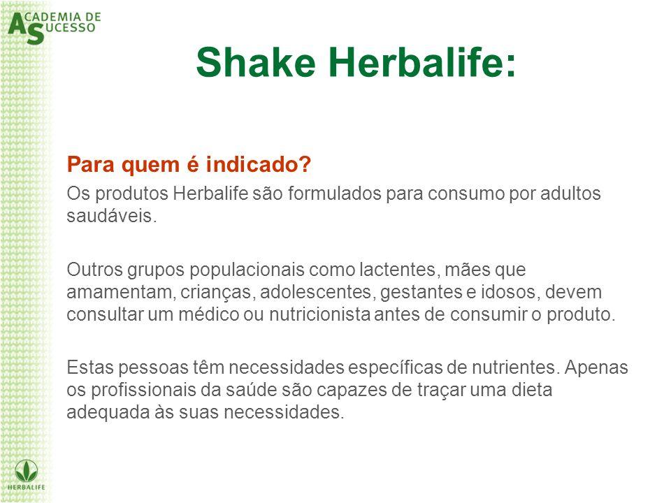 Shake Herbalife: Para quem é indicado