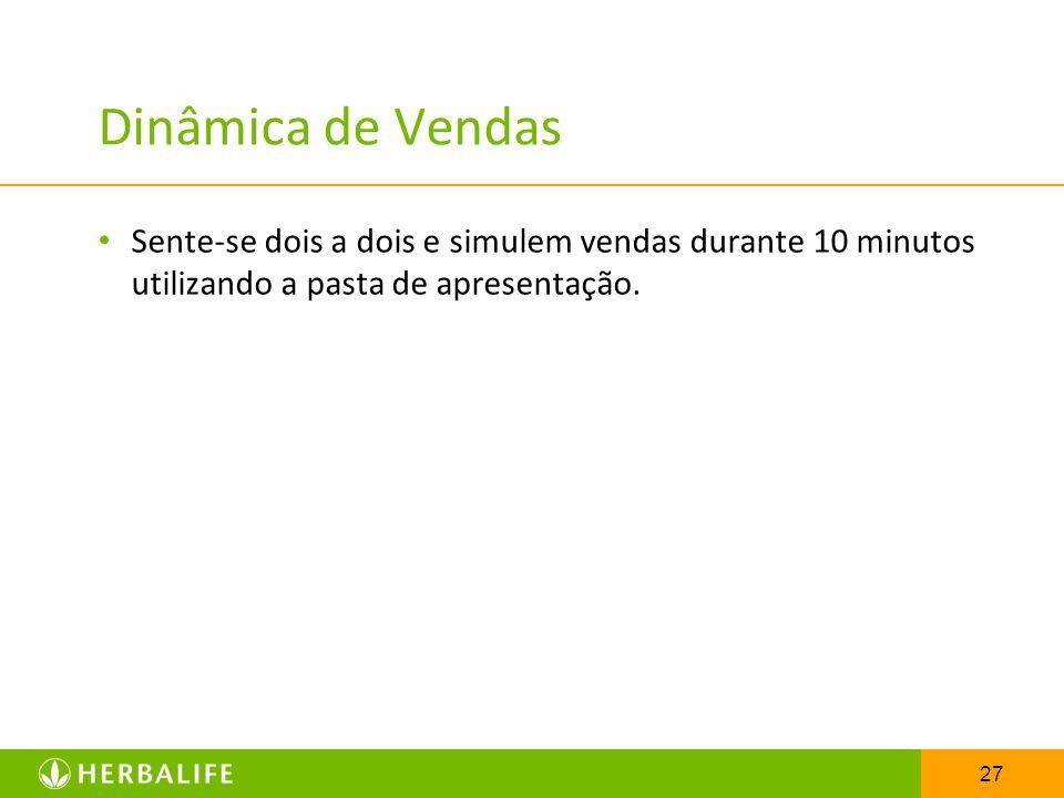 Dinâmica de Vendas Sente-se dois a dois e simulem vendas durante 10 minutos utilizando a pasta de apresentação.