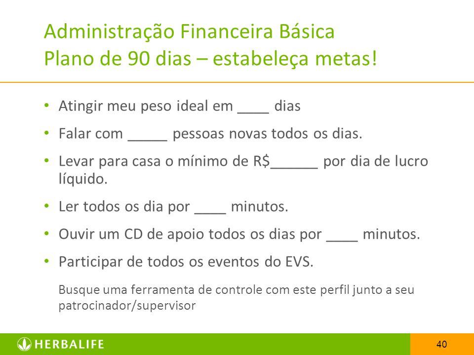 Administração Financeira Básica Plano de 90 dias – estabeleça metas!