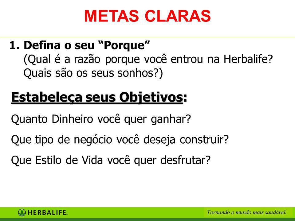 METAS CLARAS Estabeleça seus Objetivos: