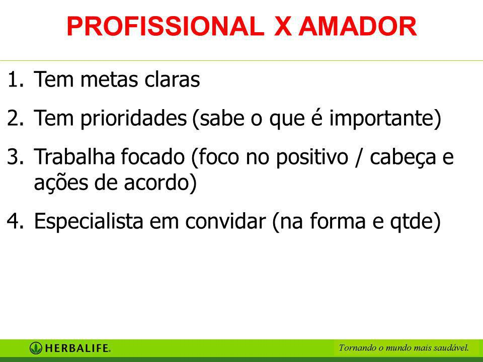 PROFISSIONAL X AMADOR Tem metas claras