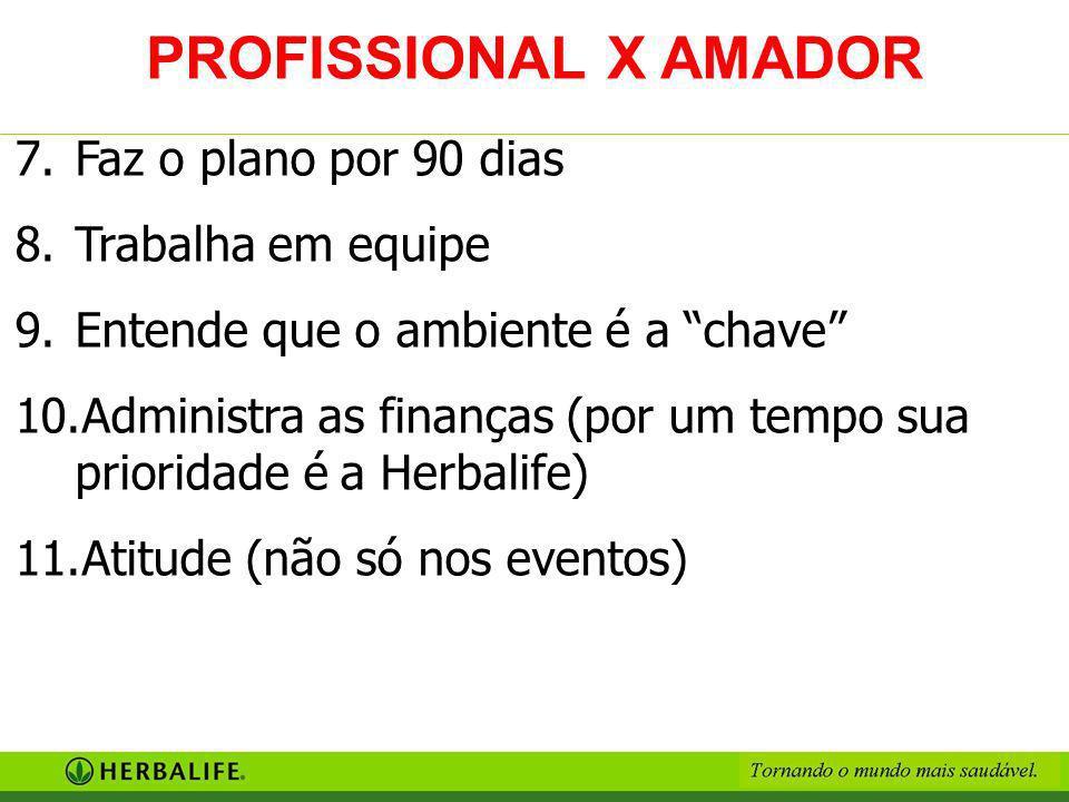 PROFISSIONAL X AMADOR Faz o plano por 90 dias Trabalha em equipe