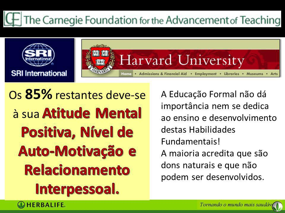 Os 85% restantes deve-se à sua Atitude Mental Positiva, Nível de Auto-Motivação e Relacionamento Interpessoal.