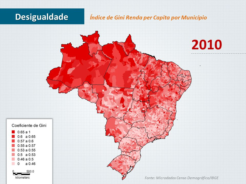 2010 Desigualdade Índice de Gini Renda per Capita por Município