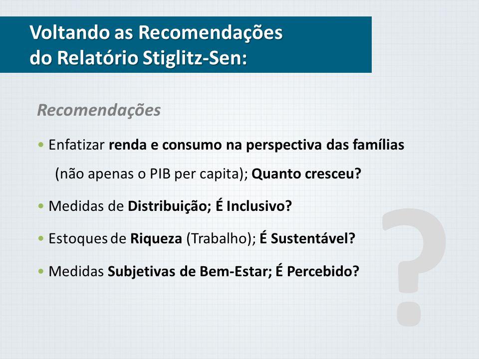 Voltando as Recomendações do Relatório Stiglitz-Sen: Recomendações