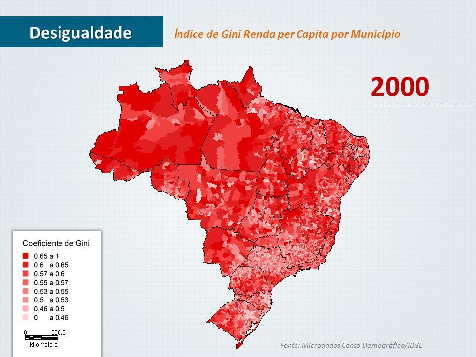 2000 Desigualdade Índice de Gini Renda per Capita por Município