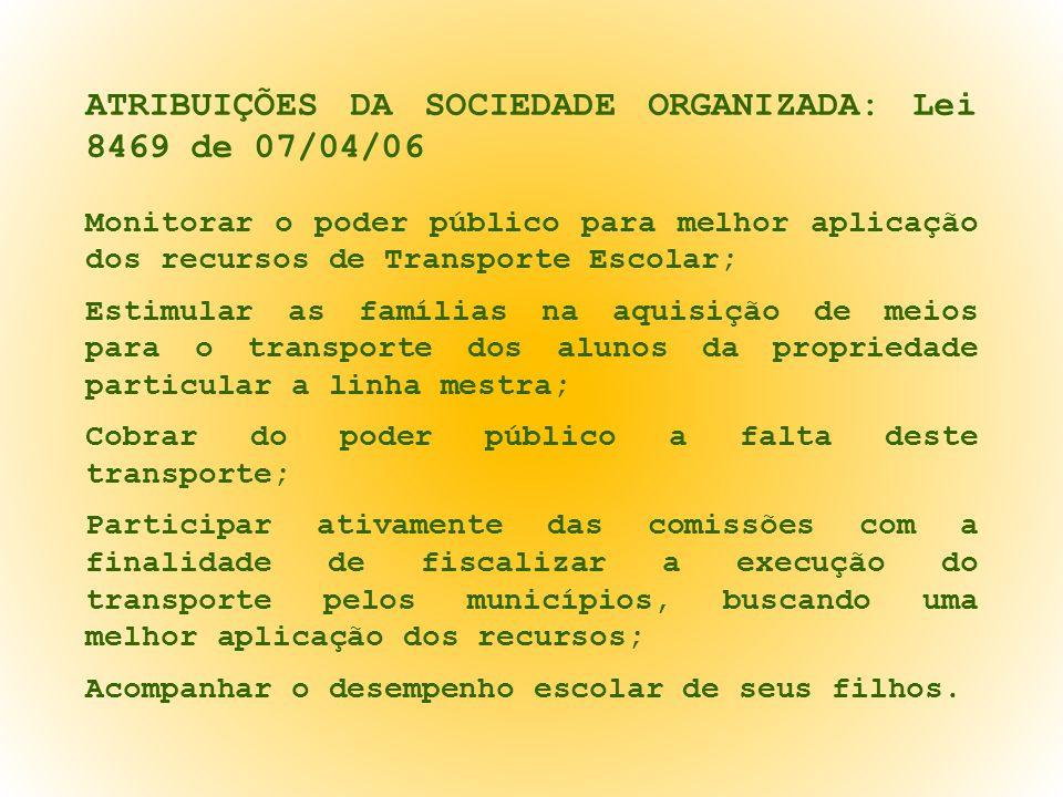 ATRIBUIÇÕES DA SOCIEDADE ORGANIZADA: Lei 8469 de 07/04/06