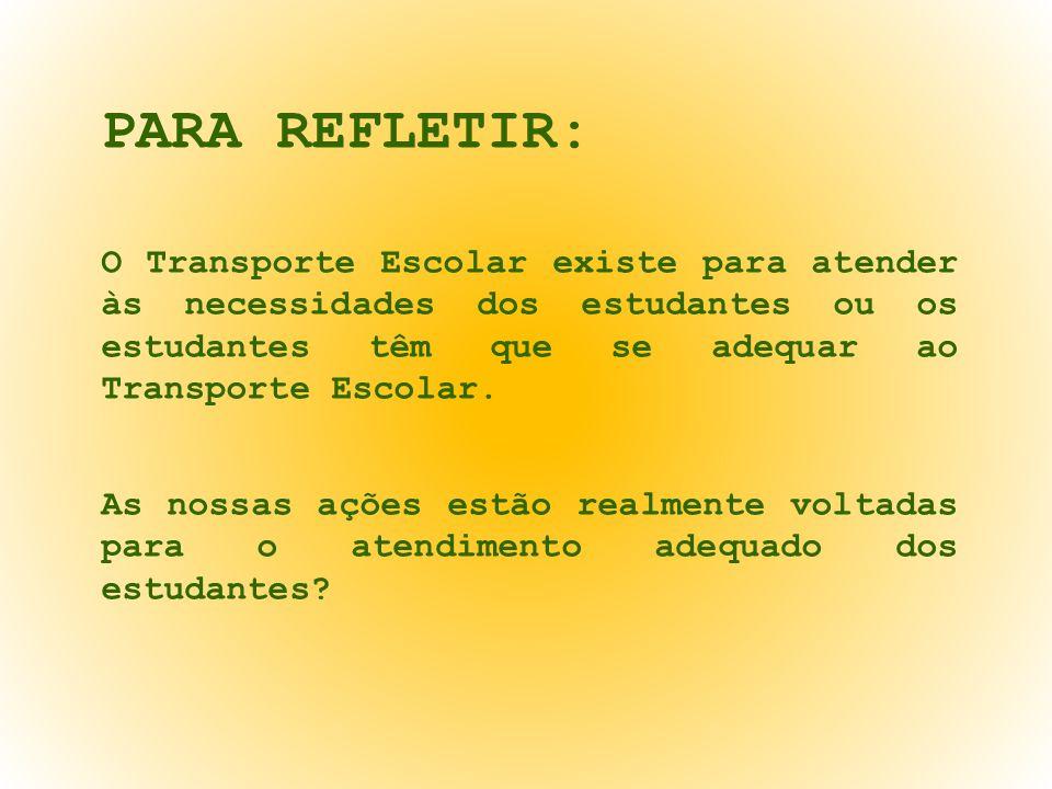 PARA REFLETIR: O Transporte Escolar existe para atender às necessidades dos estudantes ou os estudantes têm que se adequar ao Transporte Escolar.