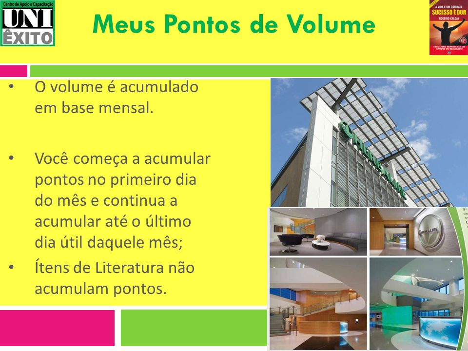 Meus Pontos de Volume O volume é acumulado em base mensal.