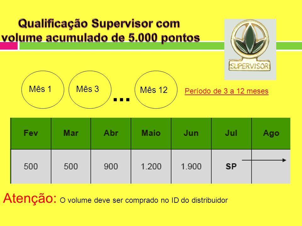 Qualificação Supervisor com volume acumulado de 5.000 pontos