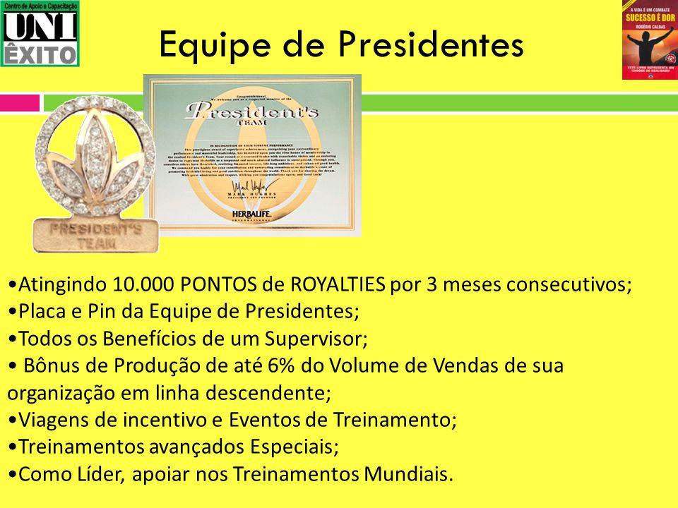 Equipe de Presidentes Atingindo 10.000 PONTOS de ROYALTIES por 3 meses consecutivos; Placa e Pin da Equipe de Presidentes;