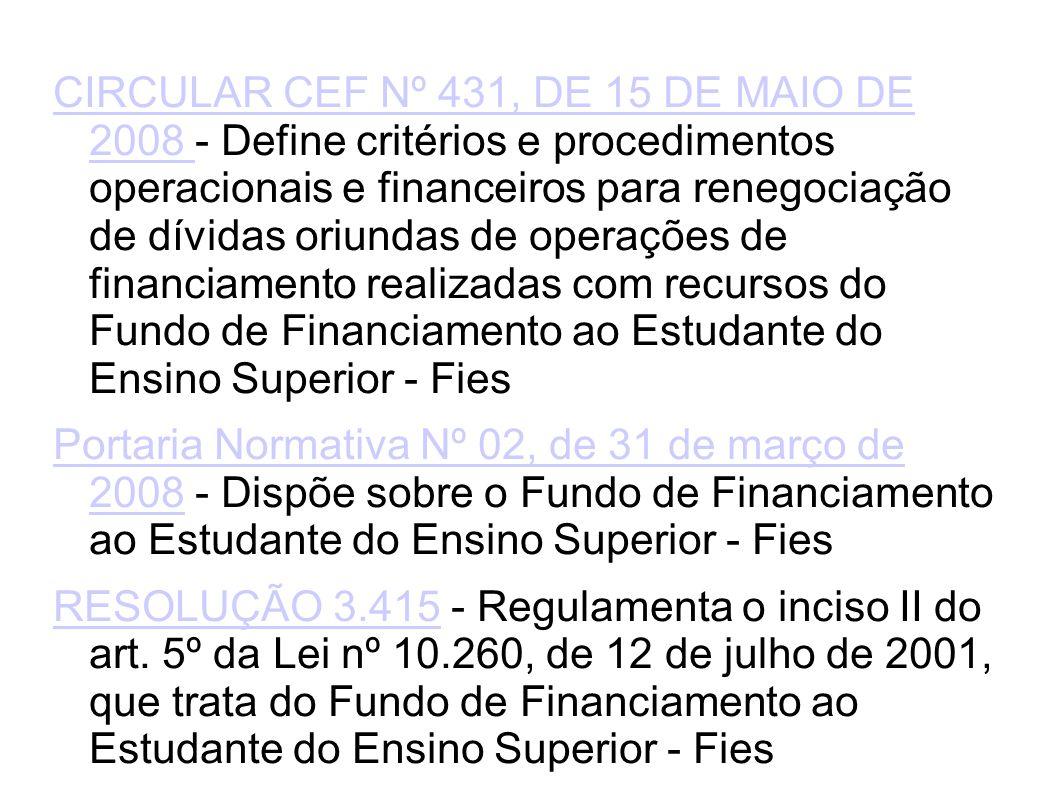 CIRCULAR CEF Nº 431, DE 15 DE MAIO DE 2008 - Define critérios e procedimentos operacionais e financeiros para renegociação de dívidas oriundas de operações de financiamento realizadas com recursos do Fundo de Financiamento ao Estudante do Ensino Superior - Fies