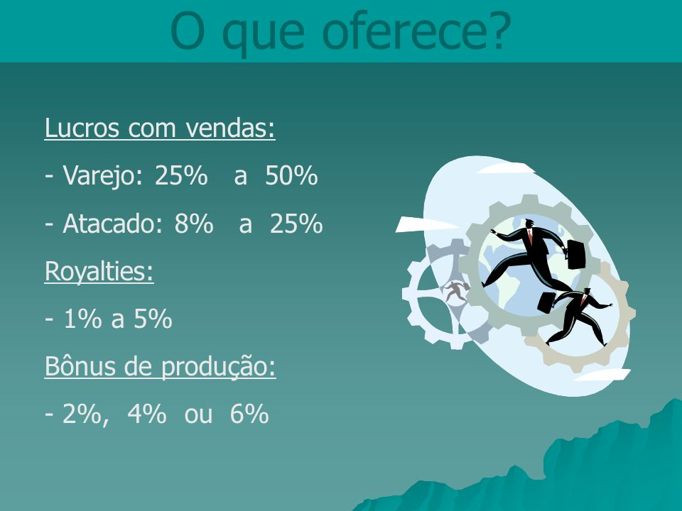 O que oferece Lucros com vendas: Varejo: 25% a 50% Atacado: 8% a 25%