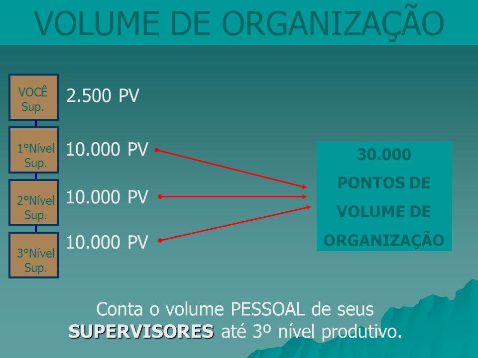 Conta o volume PESSOAL de seus SUPERVISORES até 3º nível produtivo.
