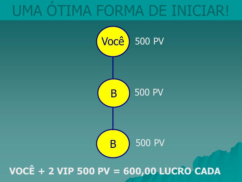 VOCÊ + 2 VIP 500 PV = 600,00 LUCRO CADA