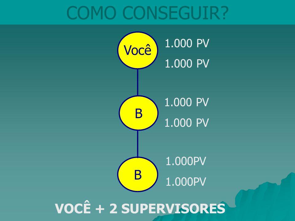 COMO CONSEGUIR Você B B VOCÊ + 2 SUPERVISORES 1.000 PV 1.000 PV